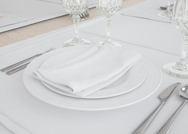 Teller und tischtuch set Kostenlosen PSD