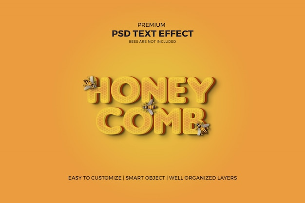 Text-effekt der bienenwaben-art-3d psd Premium PSD