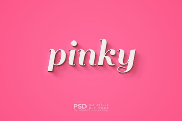 Texteffektschablone mit dem kleinen finger, der auf rosa hintergrund schreibt Premium PSD