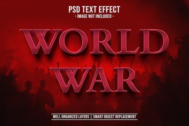 Textvorlage der textart 3d des weltkrieges Premium PSD