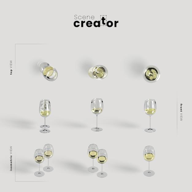 Thanksgiving-arrangement mit weißwein in gläsern Kostenlosen PSD