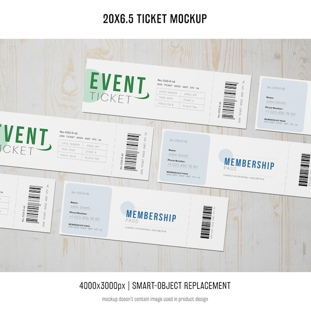 Ticket mockup Kostenlosen PSD
