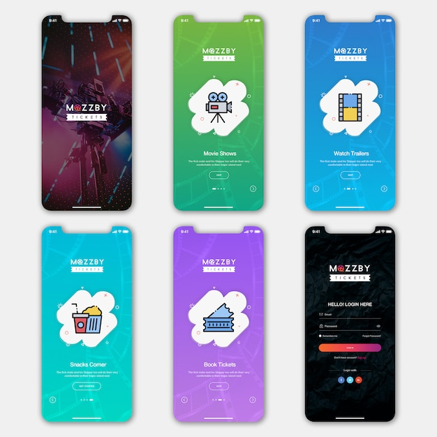 Ticketbuchung mobile app ui kit Premium PSD