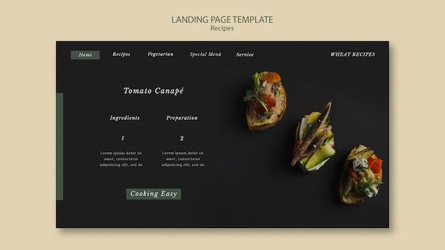 Tomato canape landing page web-vorlage Kostenlosen PSD