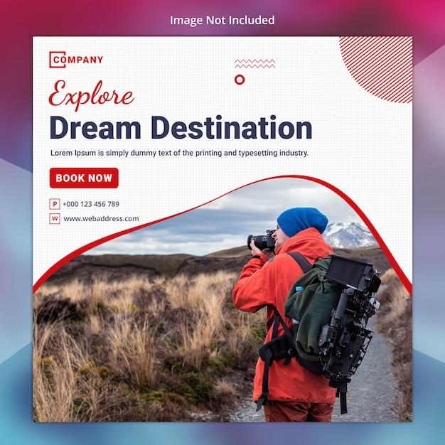 Tour-reise-social media-fahnen-schablone Premium PSD
