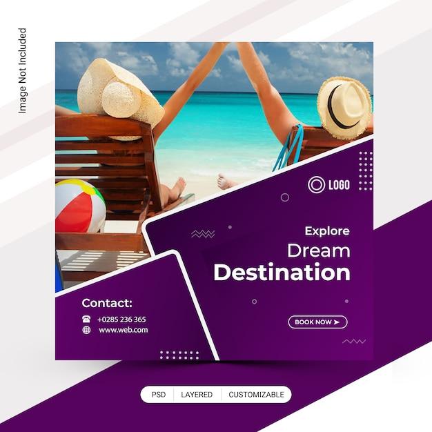 Tour, reisender rabatt instagram-beitragsschablone Premium PSD