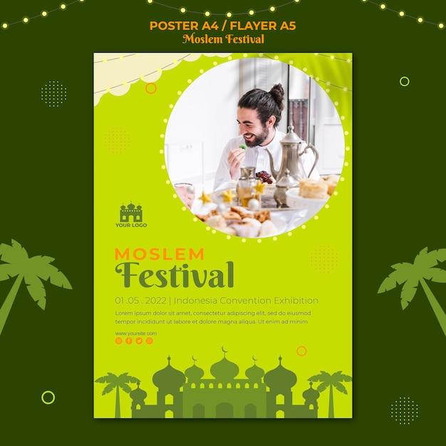 Traditionelle moslem festival flyer druckvorlage Kostenlosen PSD