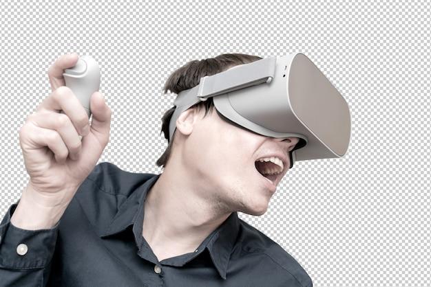 Tragende gläser der virtuellen realität des jungen mannes. innovation und technologischer fortschritt. moderne technologien für unternehmen. Premium PSD