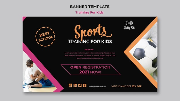 Training für kinder banner konzept Kostenlosen PSD