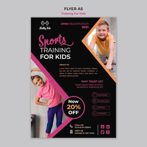 Training für kinder flyer thema Kostenlosen PSD