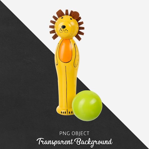 Transparenter hölzerner löwe mit grünem ballspielzeug Premium PSD