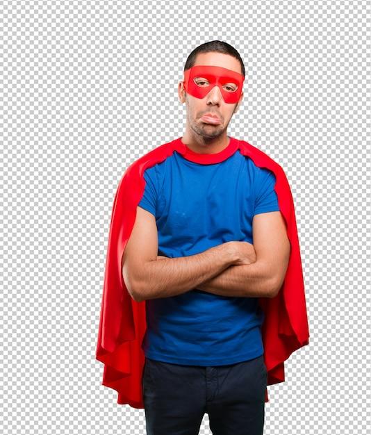 Trauriger superheld posiert Premium PSD