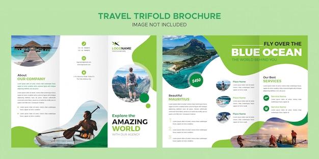 Travel trifold broschüren vorlage Premium PSD