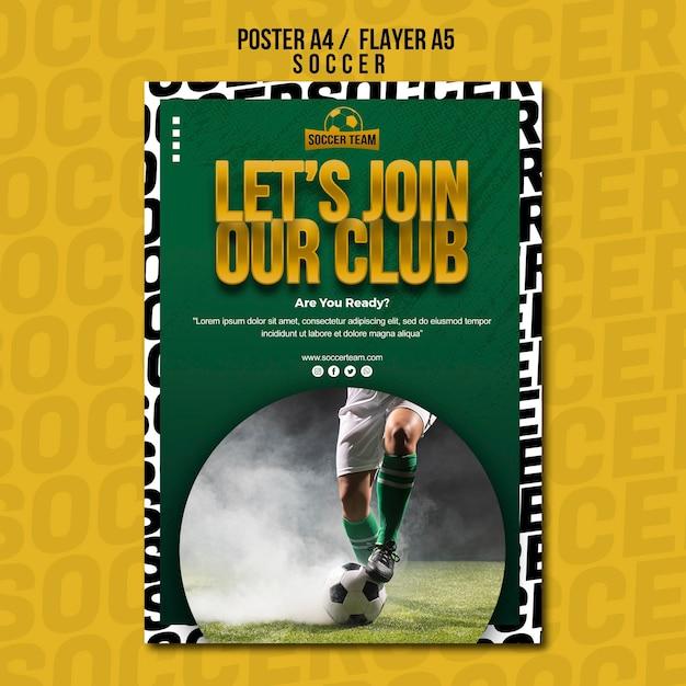 Treten sie der poster-vorlage der club school of soccer bei Kostenlosen PSD