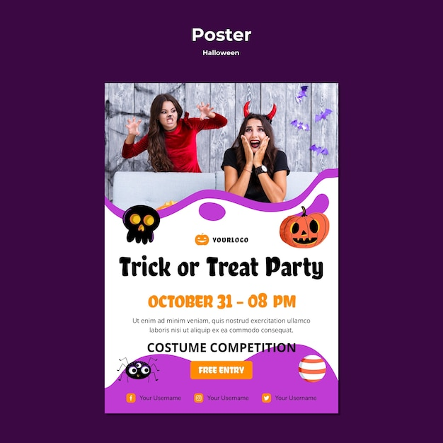 Trick or treat party poster vorlage design Premium PSD