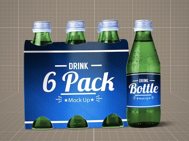 Trinkflasche & 6er pack mock up v.1 Premium PSD