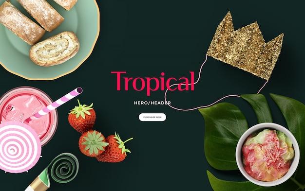 Tropische held-vorsatzszene Premium PSD