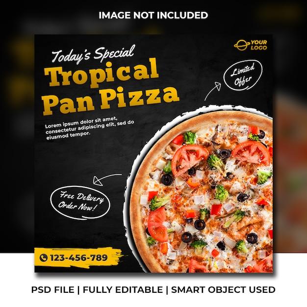 Tropische pfanne pizza social media square bannerwerbung Premium PSD