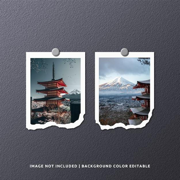 Twin portrait torn paper frame foto modell Premium PSD