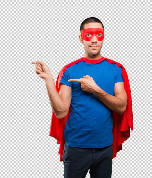 Überraschtes superheld zeigen Premium PSD