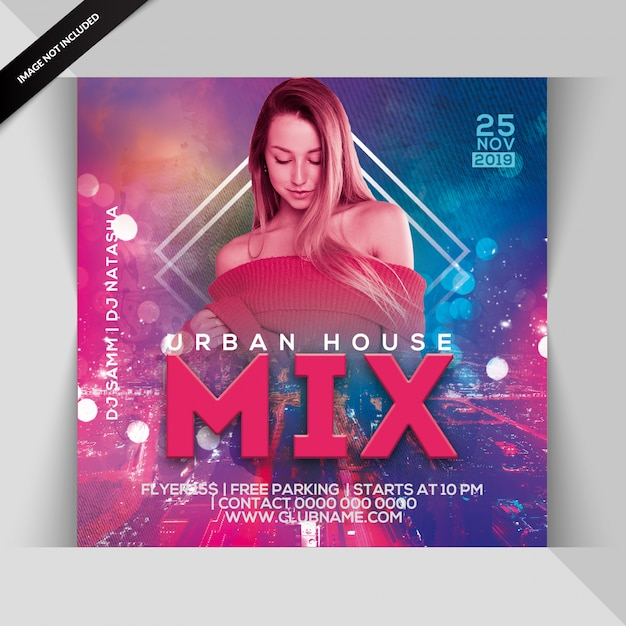 Urban house mix party flyer Premium PSD
