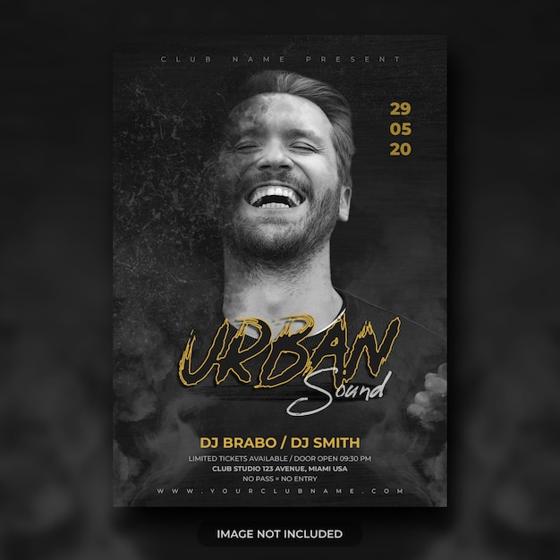 Urban night music festival flyer oder party poster vorlage Premium PSD
