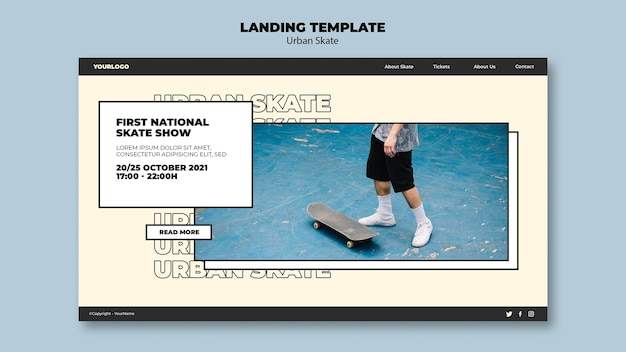 Urban skate konzept landingpage vorlage Kostenlosen PSD