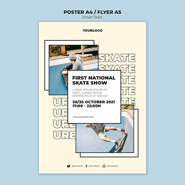 Urban skate konzept poster vorlage Kostenlosen PSD