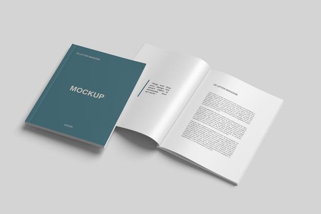 Us briefgrößen magazin und cover-modell high angle view Premium PSD