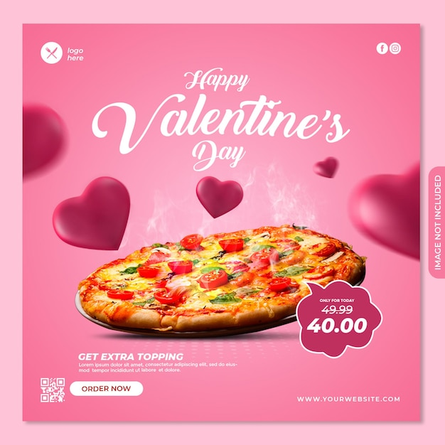 Valentine social media post banner vorlage Premium PSD