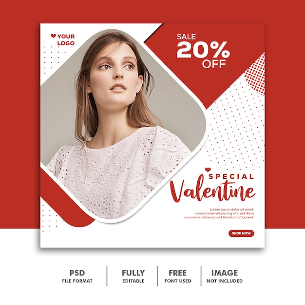 Valentinsgruß-fahnen-social media instagram, art- und weiseluxusrot Premium PSD
