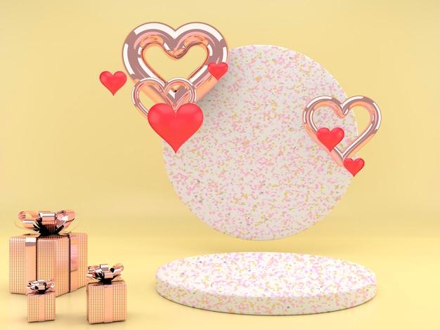 Valentinstag design mit sockel und herzen in 3d-rendering Premium PSD