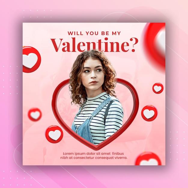 Valentinstag feier social media instagram post banner Premium PSD