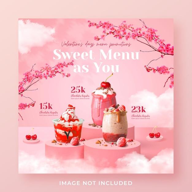 Valentinstag getränkekarte werbung social media instagram post banner vorlage Premium PSD
