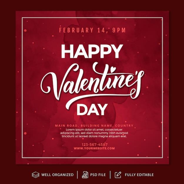 Valentinstag instagram post und banner vorlage Premium PSD