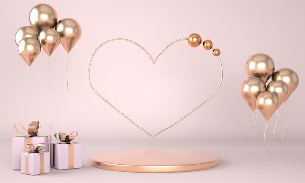 Valentinstag interieur mit sockel und herzen Premium PSD