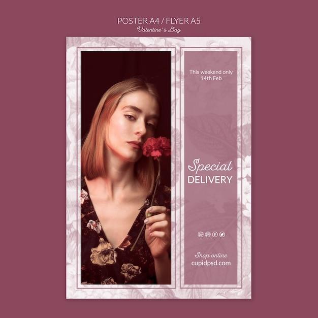 Valentinstag-konzept-modell Kostenlosen PSD