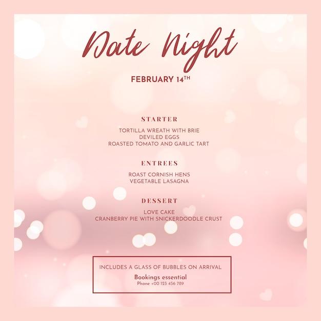 Valentinstag-menümodell Kostenlosen PSD