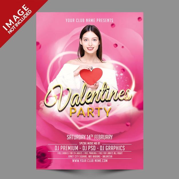 Valentinstag party flyer premium psd vorlage Premium PSD