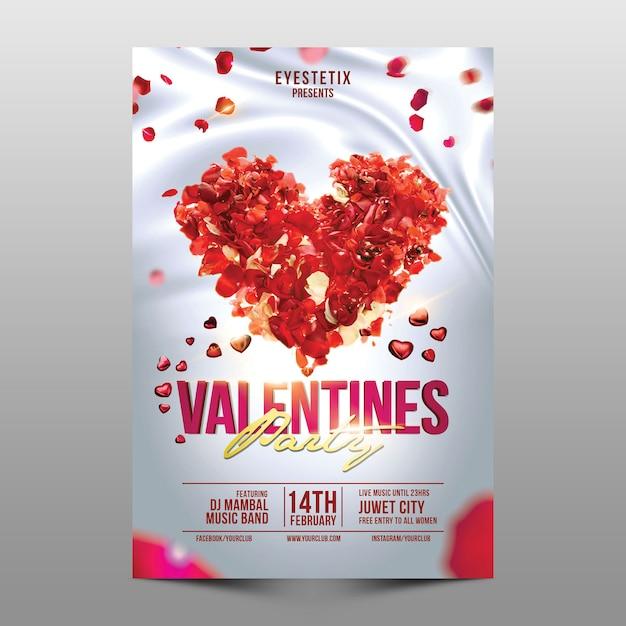 Valentinstag party flyer Premium PSD