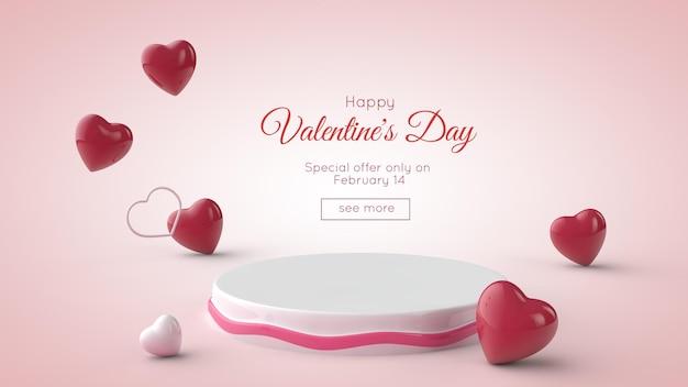 Valentinstag . podium und rote und weiße herzen. Premium PSD