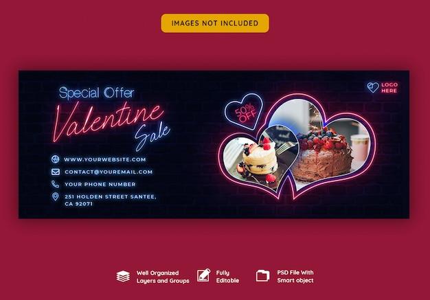 Valentinstag verkauf facebook cover banner Premium PSD