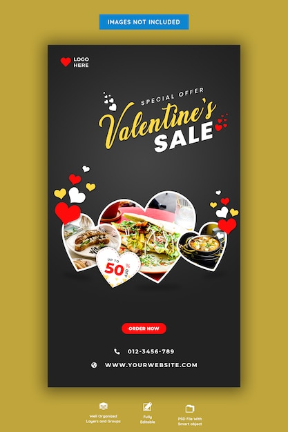 Valentinstag verkauf instagram geschichte Premium PSD