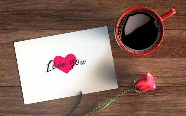 Valentinstagskarte mit kaffee und rose Kostenlosen PSD