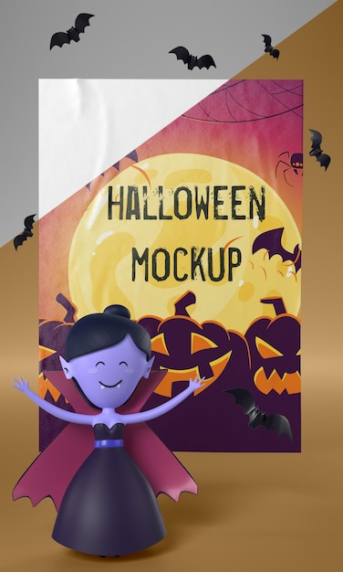 Vampir neben halloween-karte Kostenlosen PSD