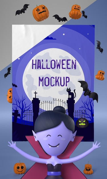 Vampirfrau neben halloween-karte Kostenlosen PSD