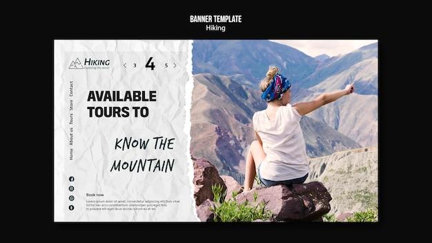 Verfügbare touren wanderbanner vorlage Kostenlosen PSD