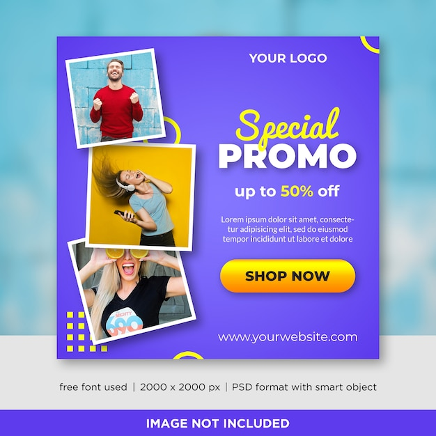 Verkaufsquadratfahne mit bild Premium PSD