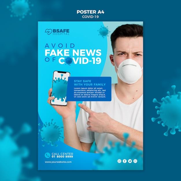 Vermeiden sie gefälschte nachrichten über coronavirus-poster Kostenlosen PSD