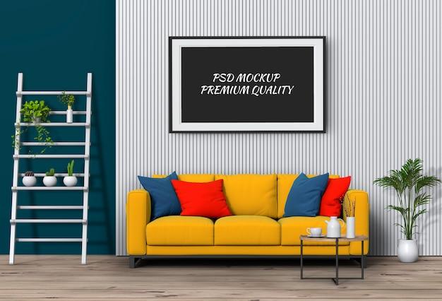 Verspotten sie herauf plakatrahmen im innenwohnzimmer und im sofa, 3d übertragen Premium PSD